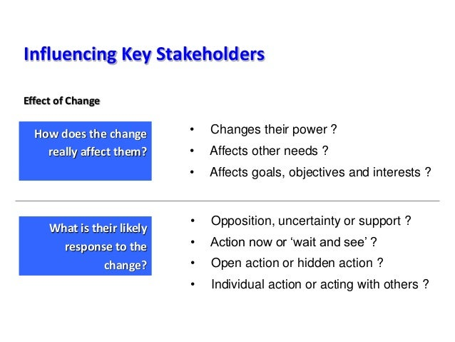 Influencing Key Stakeholders • Changes their power ? • Affects other needs ? • Affects goals, objectives and interests ? •...
