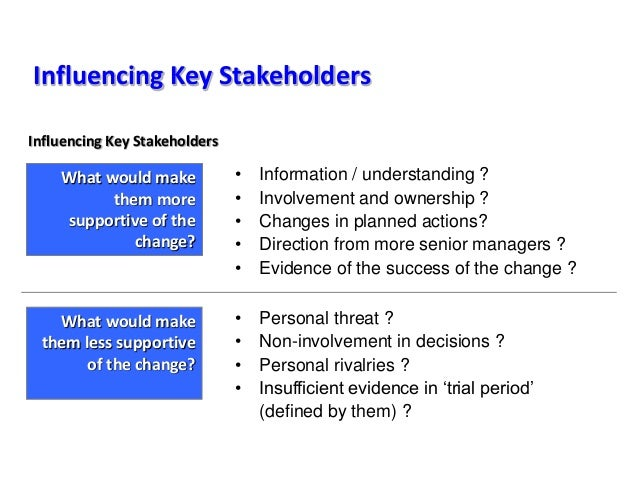 Influencing Key Stakeholders What would make them more supportive of the change? • Information / understanding ? • Involve...