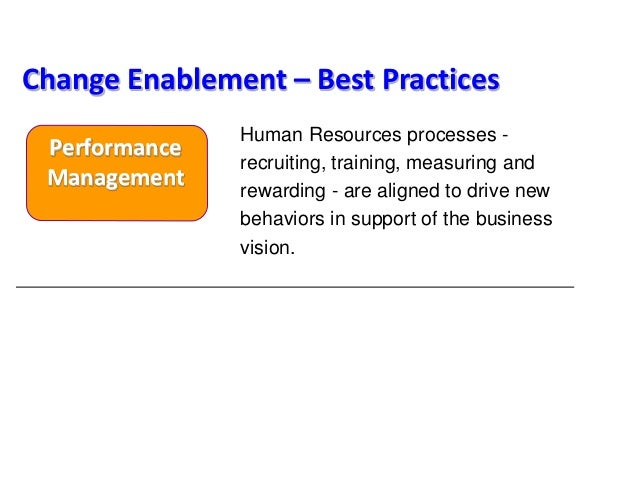 Human Resources processes - recruiting, training, measuring and rewarding - are aligned to drive new behaviors in support ...