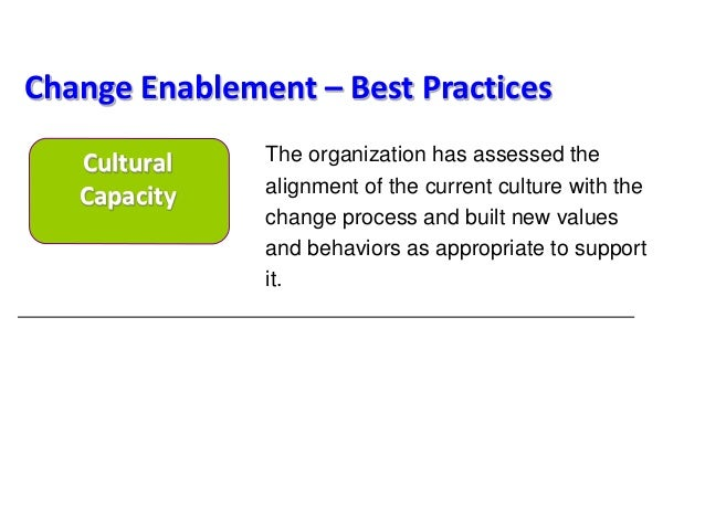 The organization has assessed the alignment of the current culture with the change process and built new values and behavi...
