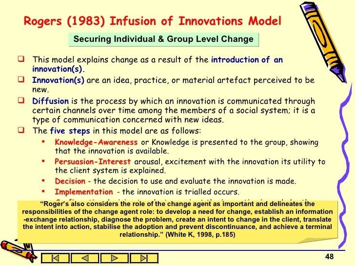 diffusion of innovation challenge for nurses This qualitative study applied everett rogers' innovation-diffusion model to analyze nurses' perceptions toward using a computerized care plan system twelve nurses from three respiratory .