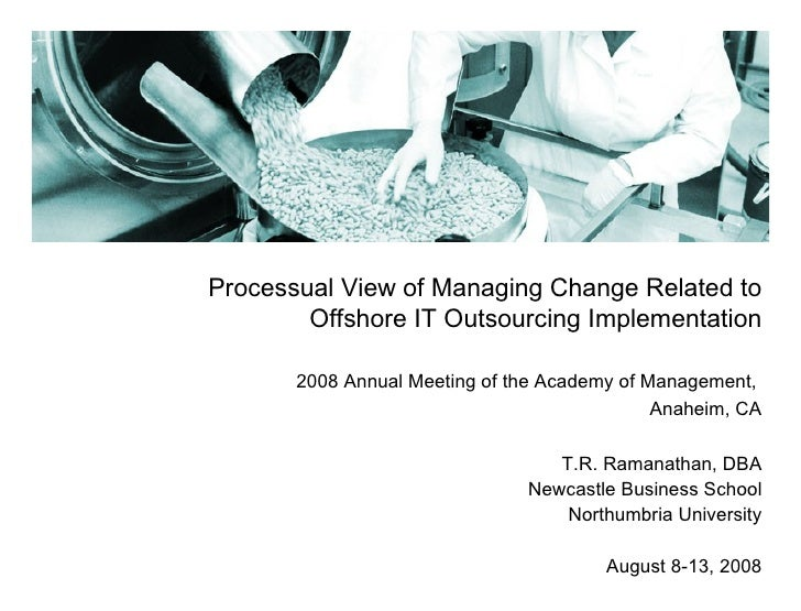 Processual View of Managing Change Related to Offshore IT Outsourcing Implementation 2008 Annual Meeting of the Academy of...