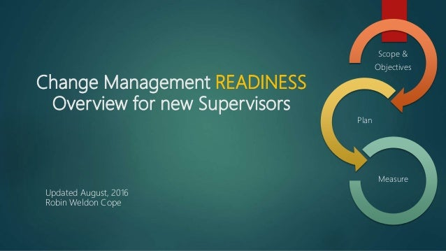 Change Management READINESS Overview for new Supervisors Scope & Objectives Plan Measure Updated August, 2016 Robin Weldon...