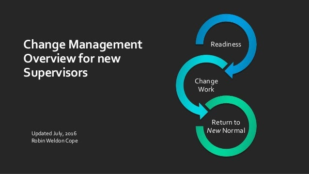 Change Management Overview for new Supervisors Readiness Change Work Return to New NormalUpdated July, 2016 RobinWeldon Co...