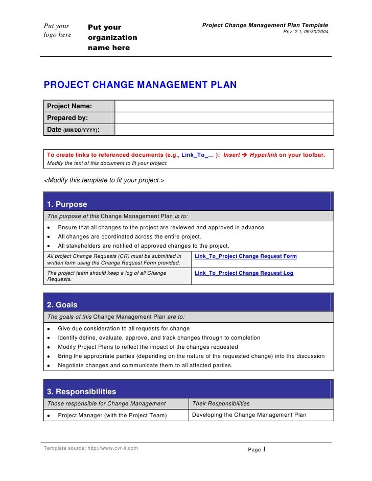 PROJECT CHANGE MANAGEMENT PLAN<br />Project Name:Prepared by:Date (MM/DD/YYYY):<br />To create links to referenced documen...