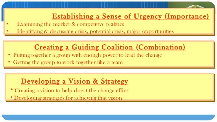 """sampoerna guiding coalition and anchoring culture Anchoring new approaches in the culture for step #2, a 'sufficiently powerful guiding coalition' of stakeholders is needed as kotter notes: """"in a rapidly moving world, individuals and weak committees rarely have all the information needed to make good non-routine decisions."""