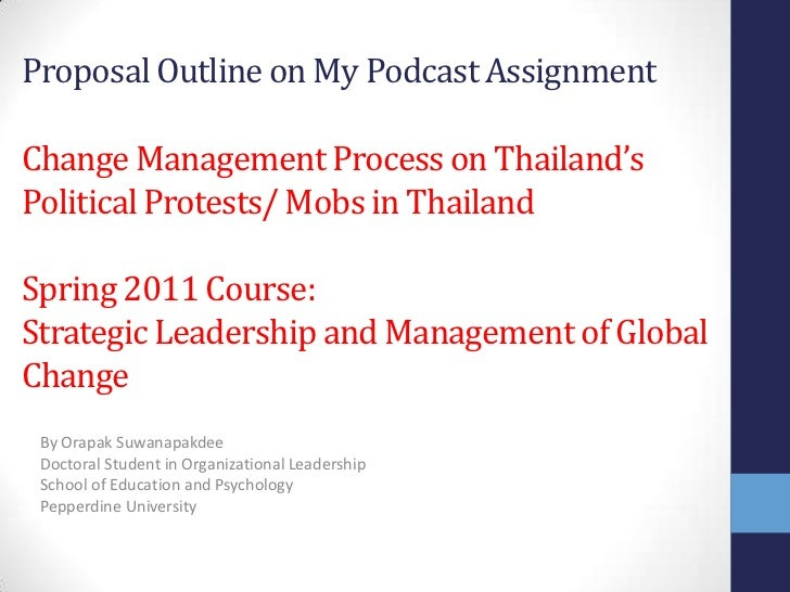 Proposal Outline on My Podcast AssignmentChange Management Process on Thailand'sPolitical Protests/ Mobs in ThailandSpring...