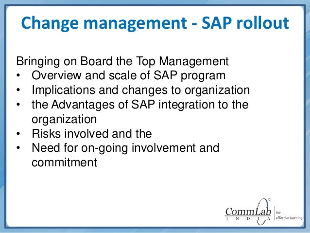 erp implementation and change management These two disciplines are tools used to support the implementation of a variety of changes that you the five projects below need both project management and change management: deploying an erp solution across the how individuals are accepting or resisting the change (change management.