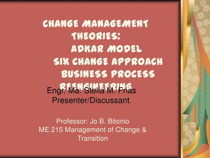 CHANGE MANAGEMENT THEORIES:ADKAR MODELSIX CHANGE APPROACHBUSINESS PROCESS REENGINEERING<br />Engr. Ma. Stella M.Frias<br /...