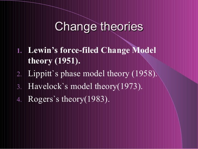 lippitt s phases of change theory Lippitt's theory of change is based on the concept of the canadian journal of nursing informatics also describes seven stages of lippit's theory of change in.