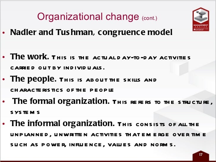 nadler and tushmans congruence model of