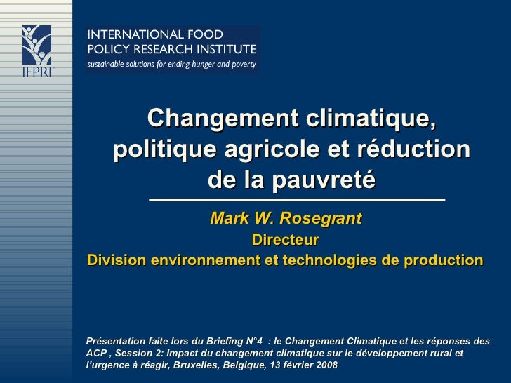 Changement climatique, politique agricole et réduction de la pauvreté Mark W. Rosegrant Directeur Division environnement e...