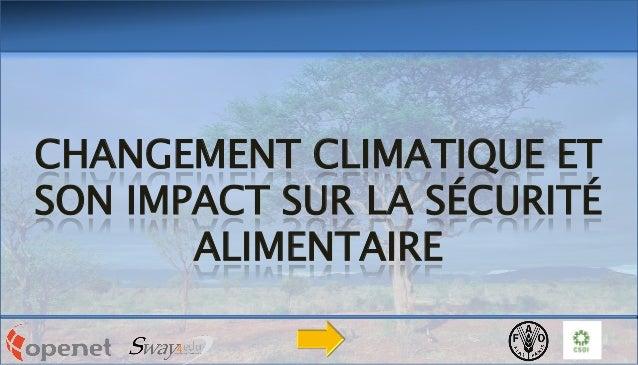 CHANGEMENT CLIMATIQUE ET SON IMPACT SUR LA SÉCURITÉ ALIMENTAIRE