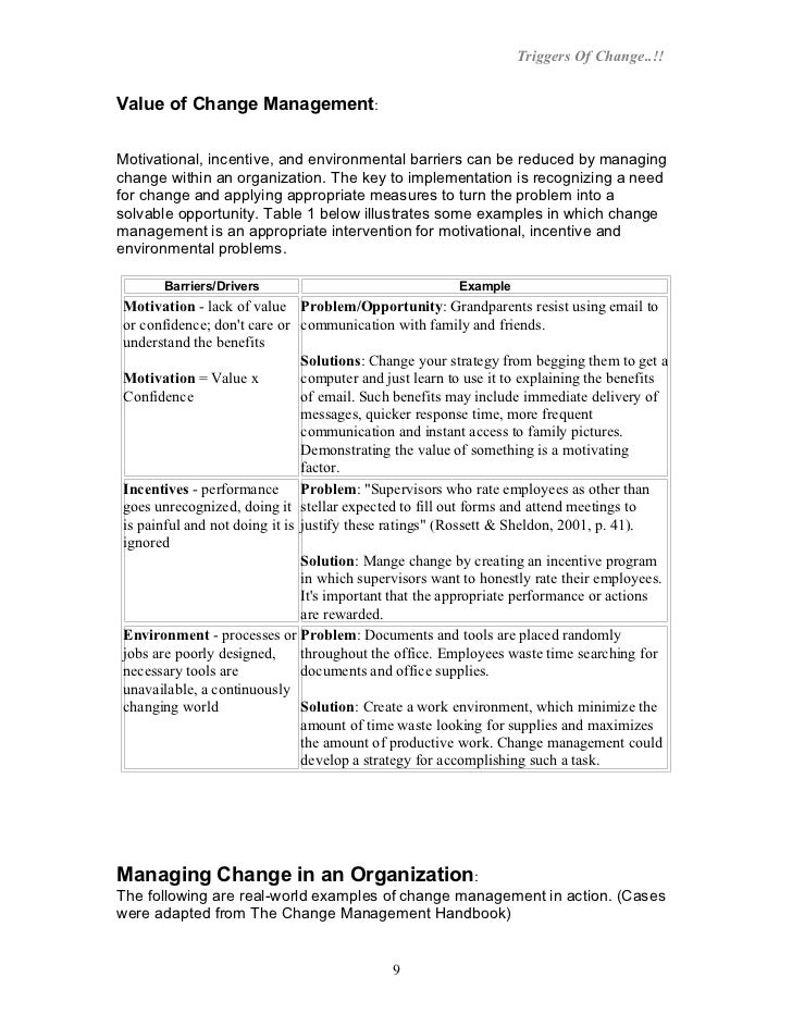 triggers of change in an organization