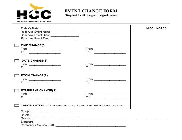 Change Order Form – Event Order Form