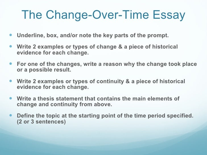 ap world history continuity and change essays Ap® world history 2014 scoring the essay address es change and continuity the essay includes strong world historical context in the final paragraph.