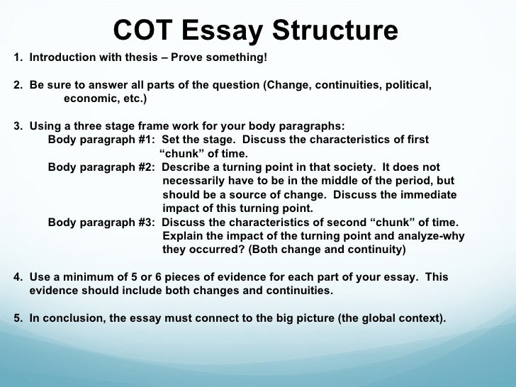ccot essay example Restate the example of continuity in the topic sentence of the paragraph,  n, sam how to write a ccot essay accessed june 10,.