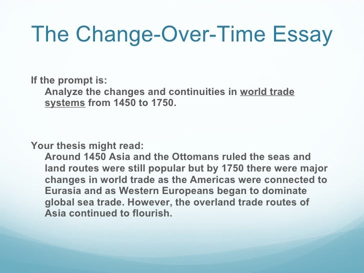 continuity and change over time essay example