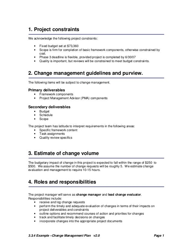Change Plan Template and Example – Change Management Plan Template