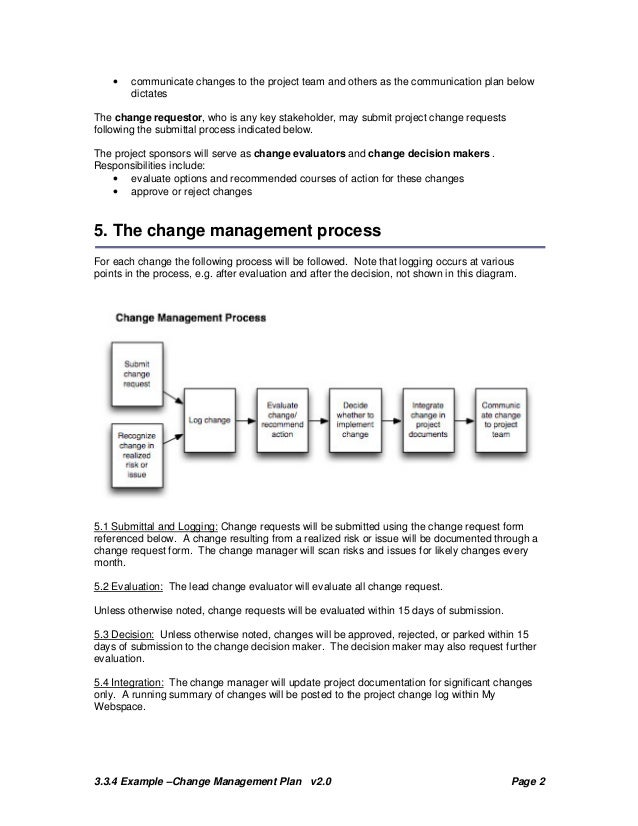 change management plan example