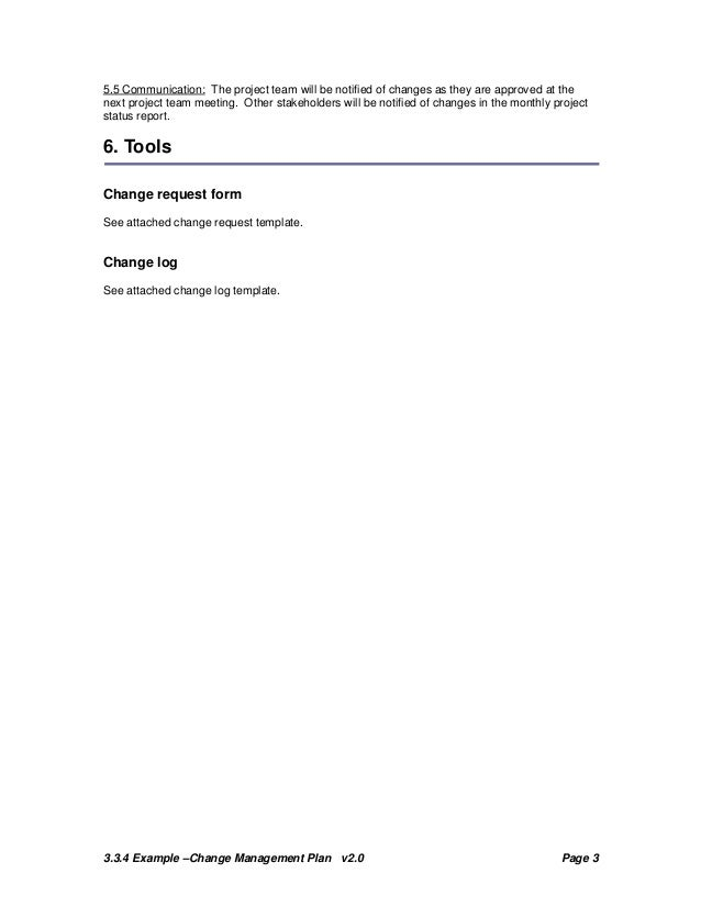 Change Plan Template and Example – Change Log Template