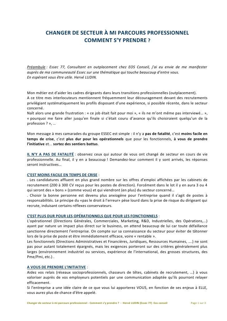 CHANGER DE SECTEUR A MI PARCOURS PROFESSIONNEL                           COMMENT S'Y PRENDRE ?    Préambule : Essec 77, Co...