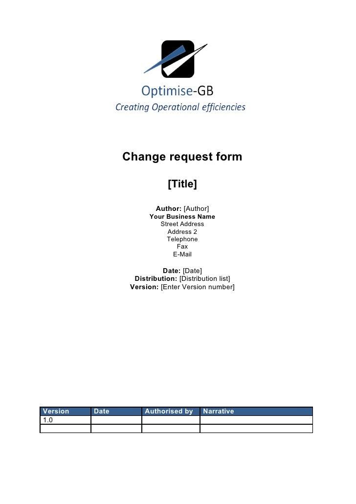 Change request form                                [Title]                            Author: [Author]                    ...