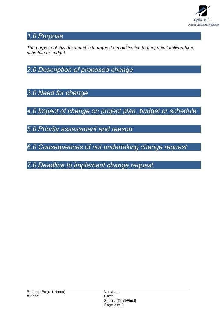 Project change request - Project Management template