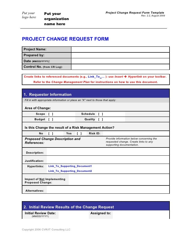 Change request form template for Change log template project management