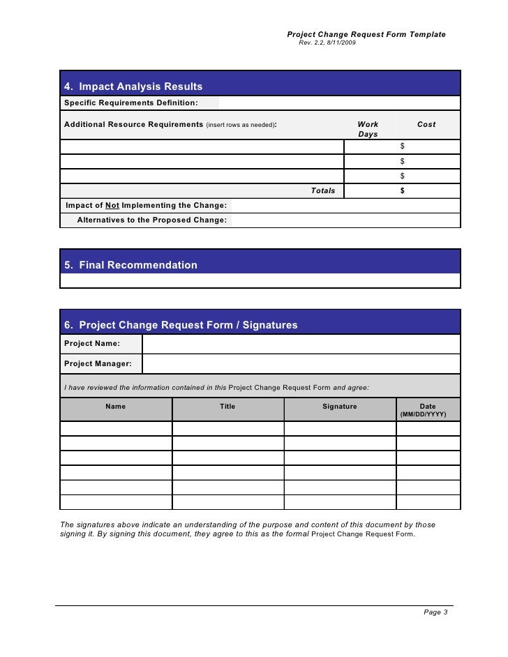 Change Request Template Project Change Request Form Change Request