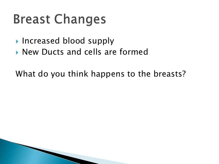 Increased blood supply<br />New Ducts and cells are formed<br />What do you think happens to the breasts?<br />Breast Chan...