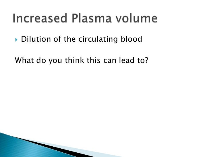 Dilution of the circulating blood<br />What do you think this can lead to?<br />Increased Plasma volume<br />