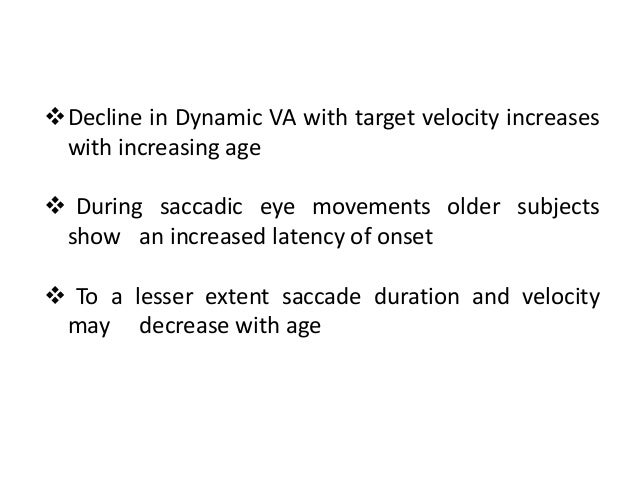 Changes Of Visual Function With Age Ppt