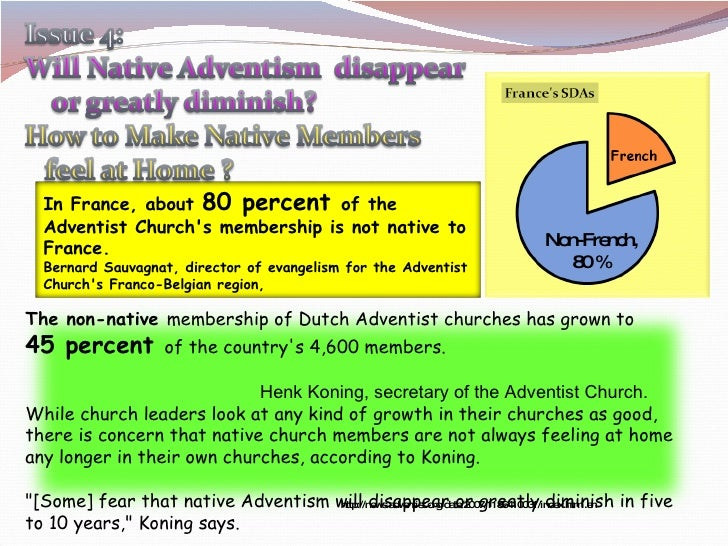 http://news.adventist.org/data/2007/1186410031/index.html.en Non-French, 80 % In France, about  80 percent  of the Adventi...