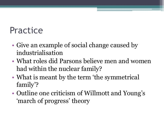 Practice • Give an example of social change caused by industrialisation • What roles did Parsons believe men and women had...