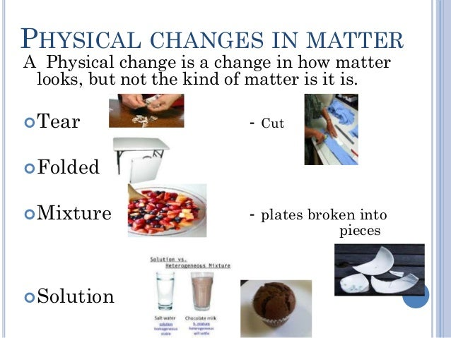 chemical and physical changes in matter Classroom activities from inquiry in action on the topic of physical change.