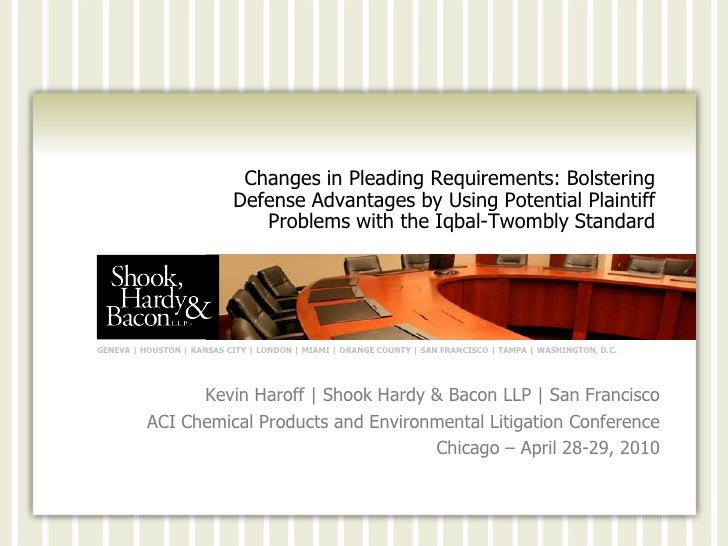 Changes in Pleading Requirements: Bolstering                            Defense Advantages by Using Potential Plaintiff   ...