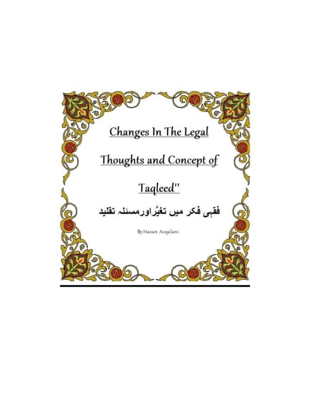 Changes in the legal thoughts and concept of taqleed taqleed kis trah jamid ban gyi or fikri o amli zindagi kis trah taatul stopboris Image collections