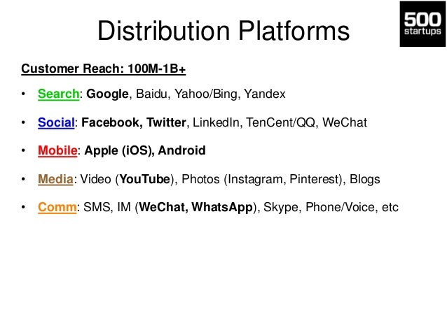 Distribution Platforms Customer Reach: 100M-1B+ • Search: Google, Baidu, Yahoo/Bing, Yandex • Social: Facebook, Twitter, L...