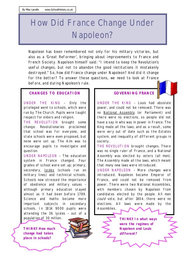 By Miss Lavelle   www.SchoolHistory.co.uk       How Did France Change Under                Napoleon?     Napoleon has been...