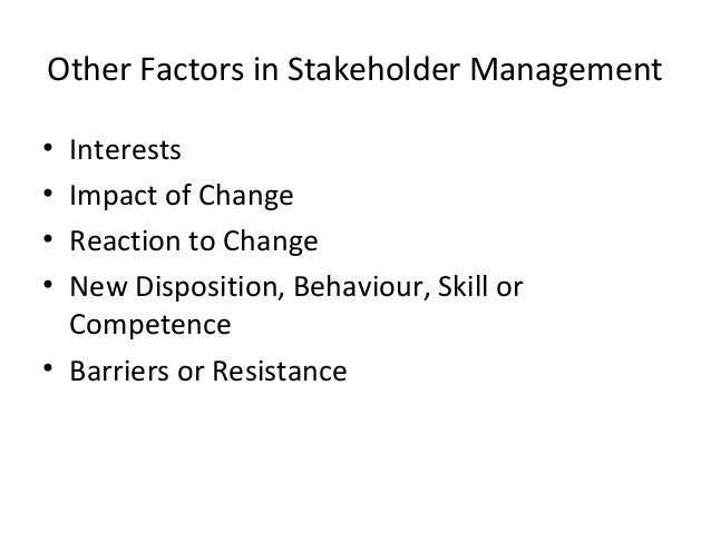 27 Other Factors In Stakeholder Management