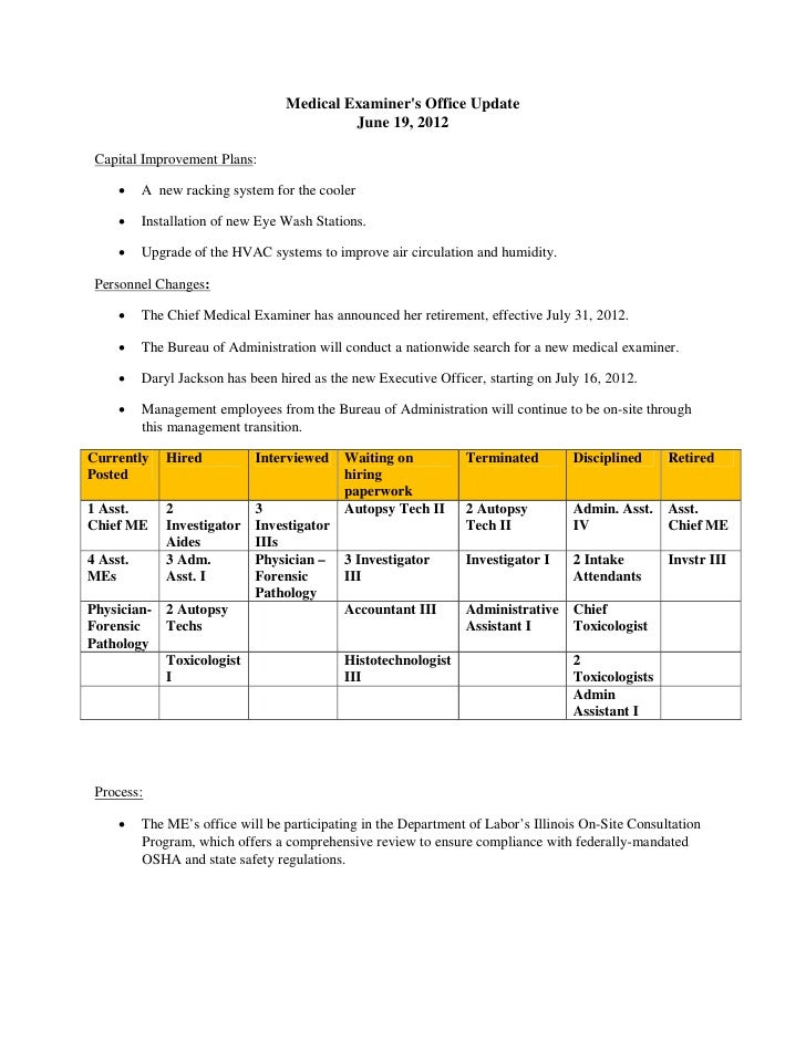 Medical Examiners Office Update                                           June 19, 2012 Capital Improvement Plans:       ...