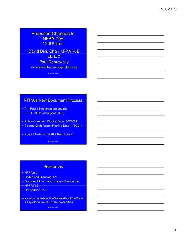 5/1/2013 1 Proposed Changes to NFPA 70E 2015 Edition David Dini, Chair NFPA 70E NFPA 2013 C & E UL, LLC Paul Dobrowsky Inn...