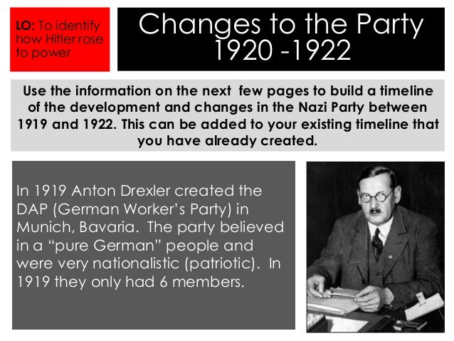 development of the nazi party 1919 1933 A short history of nazi germany and the holocaust  the weimar republic and  the rise of the nazis (1919-1933) as the effects of world war i began to take  their  by this time the nazis had developed a sophisticated domestic police  force.