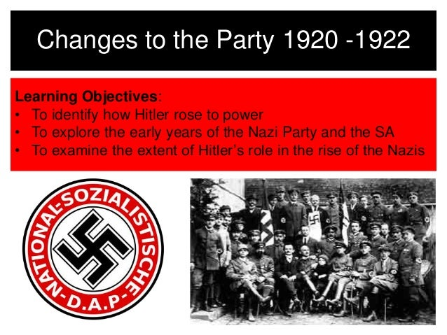 Changes to the Party 1920 -1922  Learning Objectives:  • To identify how Hitler rose to power  • To explore the early year...