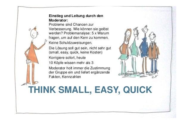 THINK SMALL, EASY, QUICK Einstieg und Leitung durch den Moderator: Probleme sind Chancen zur Verbesserung. Wie können sie ...