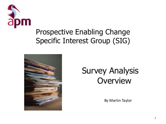 Prospective Enabling Change Specific Interest Group (SIG)  Survey Analysis Overview By Martin Taylor  1
