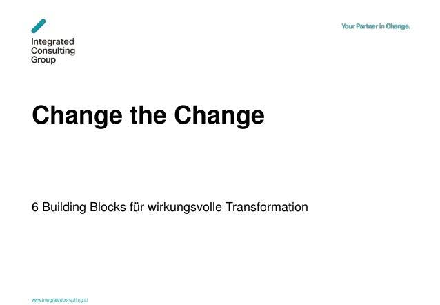 www.integratedconsulting.at 1 Change the Change 6 Building Blocks für wirkungsvolle Transformation