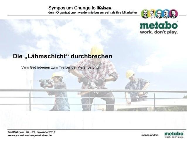 Symposium Change to Kaizen                               denn Organisationen werden nie besser sein als ihre Mitarbeiter  ...