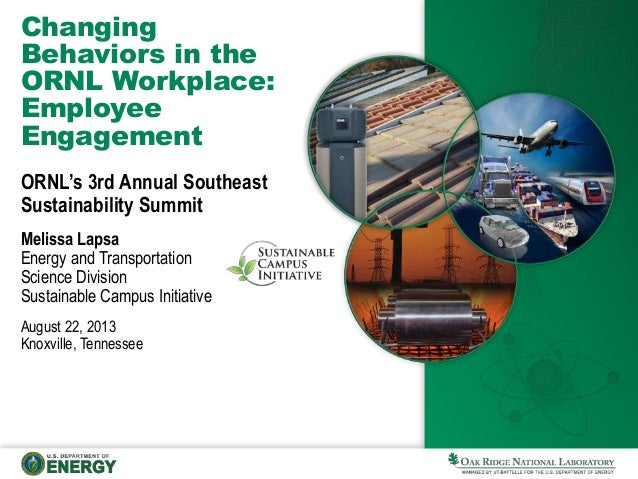Changing Behaviors in the ORNL Workplace: Employee Engagement ORNL's 3rd Annual Southeast Sustainability Summit Melissa La...